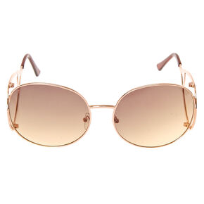 Gold-Tone Round Geometric Sunglasses,