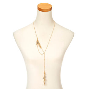 Gold-Tone Long Beaded Necklace,