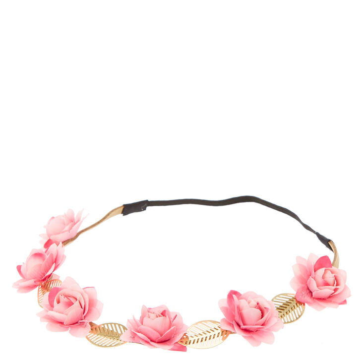 Pink Flowers & Gold Leaves Head wrap,