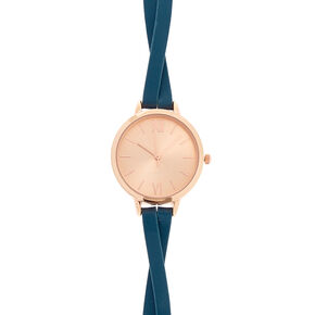Teal Faux Leather Rose Gold-Tone Watch,