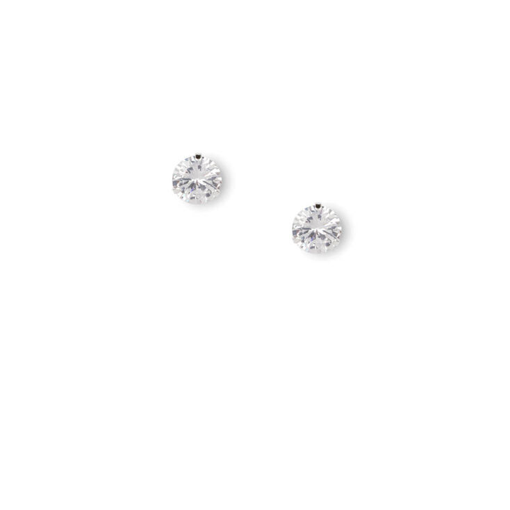 10MM Round Cubic Zirconia Martini Set Stud Earrings,