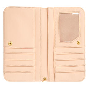 Blush Pink Faux Leather Wristlet,