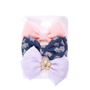 Pink, Gray, And White Floral Bow Hair Clips,