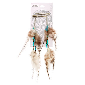 White Tiger Striped Feather Hair Clip,