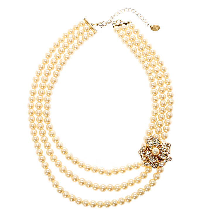 Multi-Layer Ivory Pearl Necklace with  Gold Tone Flower Brooch,