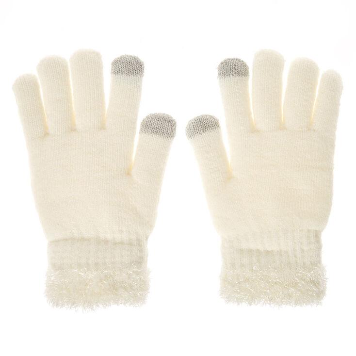 Ivory Fuzzy E-Tip Gloves,