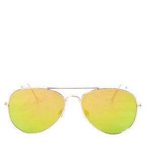 Gold Mirrored Aviator Sunglasses,