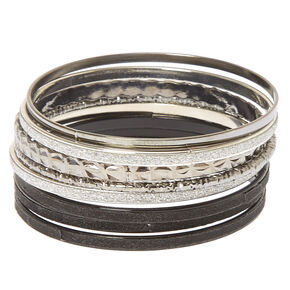 8 Pack Black & Silver Bangle Bracelets,