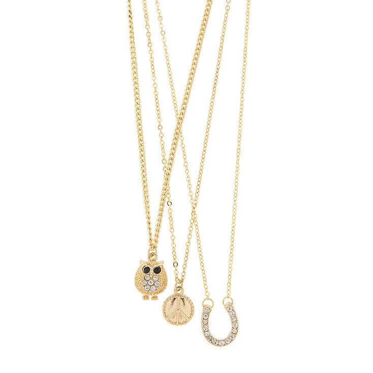 Gold 3 Piece Charm Necklaces,