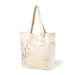"""Bridesmaid Canvas Tote Bag with """"A"""" Initial Tag,"""