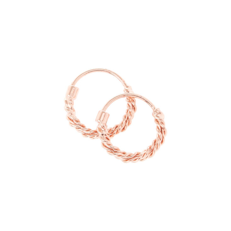 18kt Rose Gold Plated Hoops,