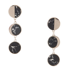Silver Tone & Black Marbled Circle Drop Earrings,
