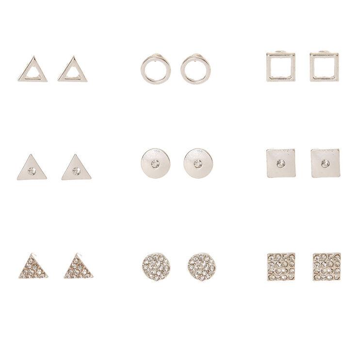 Silver Tone Geometric Stud Earrings,