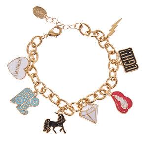 Gold-Tone Mood Themed Charm Bracelet,