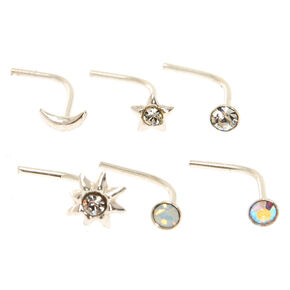 22G Sterling Silver Celestial Nose Studs,
