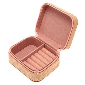 "Blush Pink ""I"" Initial Jewelry Case,"