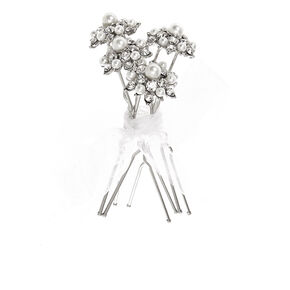 Silver Pearl & Crystal Flower Hair Pins,