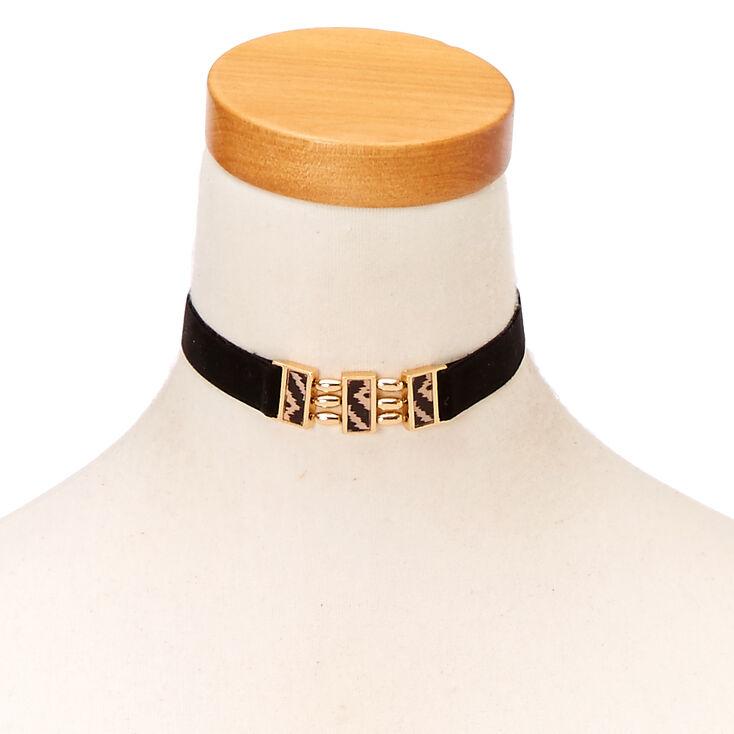 Black Velvet with Gold Details Choker,