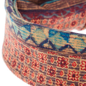 Aztec and Floral Print Reversible Knotted Headwrap,