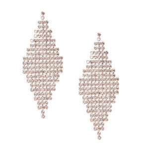 Silver-Tone Crystal Marquis Earrings,