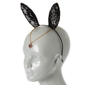 Black Lace Bunny Ears Headband,