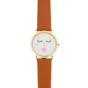 Tan Faux Leather Eyelashes and Lips Watch,