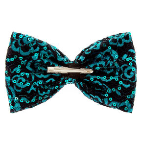 Turquoise Sequin Lace Bow Hair Clip,