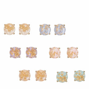 Patel Stone with Gold Foil Stud Earrings,