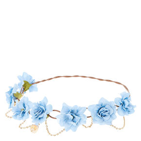 Blue Flowers & Golden Chain Hair Flower Crown,