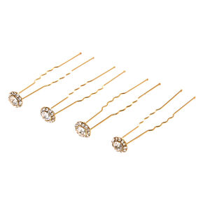 Crystal Halo Gold Tone Bobby Pins,