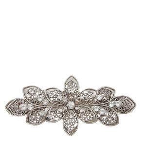 Silver Floral Filigree Hair Clip,