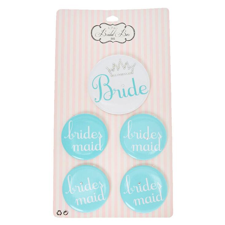 Bride & Bridesmaid Blue Button Set,