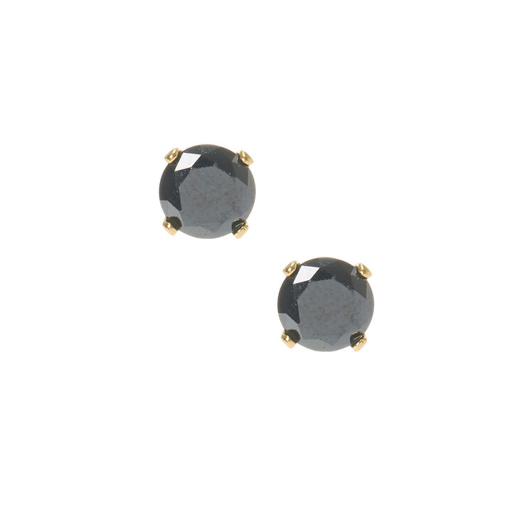 18kt Gold Plated Cubic Zirconia Black Studs,