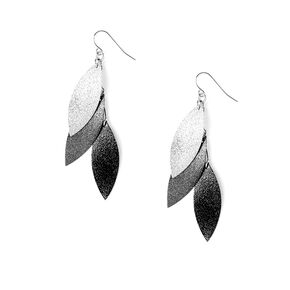 Brushed Metal Layered Leaves Drop Earrings,