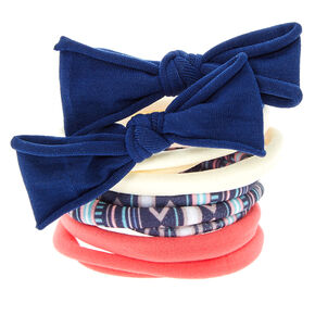 Pink & Navy Aztec Print Bow Hair Ties,