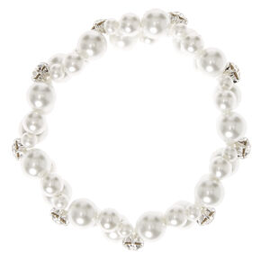 Double Row Faux White Pearl Bracelet,