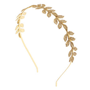 Gold Glitter Leaf Headband,