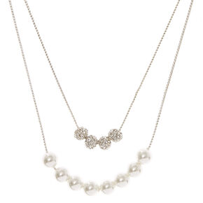 Silver Tone Double Strand Fireball & White Faux Pearl Necklace,