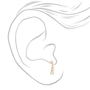 Faux Pearl Ear Suspender Earrings,