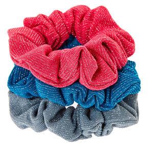 Pink, Teal, & Gray Glittery Hair Scrunchies,