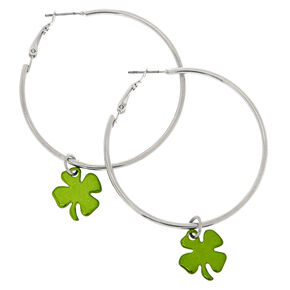50 MM St. Patrick's Day Shamrock Hoops,