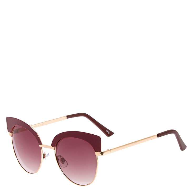 Burgundy Cat Eye Sunglasses,