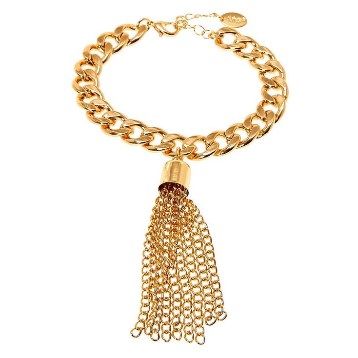 Thick Gold Chain Link Bracelet with Tassel,