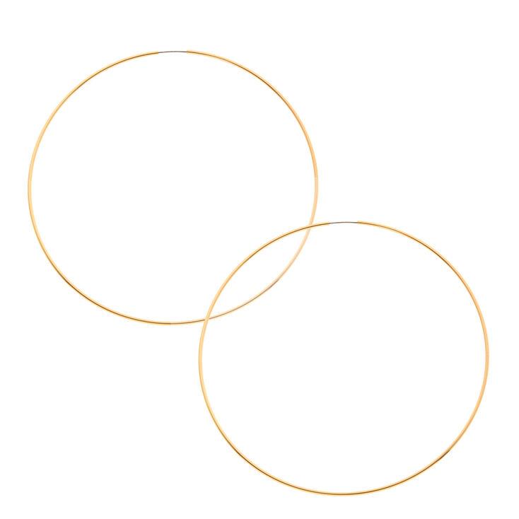 100MM Skinny Gold Tone Hoop Earrings,