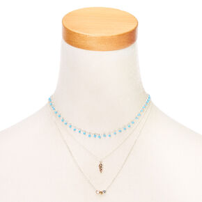 Turquoise & Silver Dainty Boho Necklace Set,