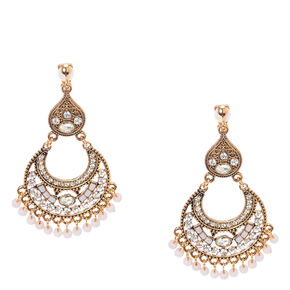 Antique Gold and White Bead Medallion Clip-on Drop Earrings,