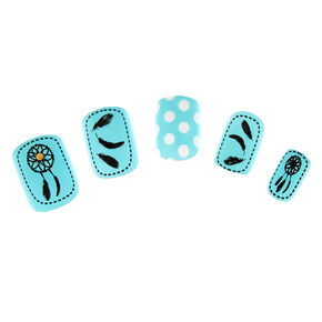 Turquoise and White with Black Dream Catchers and Feathers False Nails,