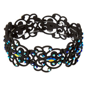 Black and Blue Gem Filigree Stretch Bracelet,