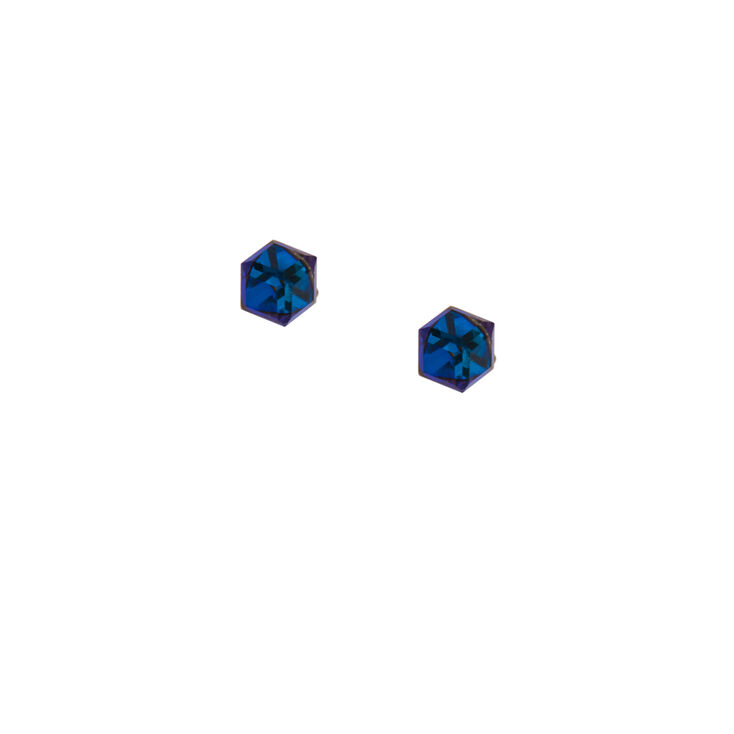 Sterling Silver Iridescent Crystal Cube Stud Earrings,