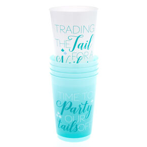 5 Pack Mermaid Phrase Drinking Cups,